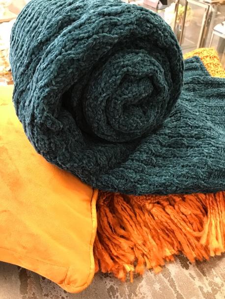teal burnt orange throw velvet cushion